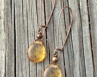 Long Boho Copper Earrings, Amber Glass Earrings, Amber Boho Jewelry
