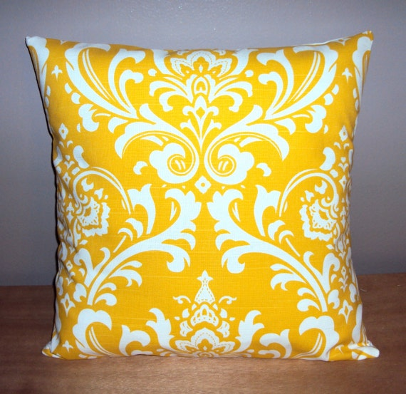 Bright Yellow Decorative Pillows : Bright Yellow Cotton Damask Print Decorative Pillow Cover