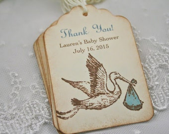 Personalized Baby Shower Tags Thank You Favor Tags Boy Stork