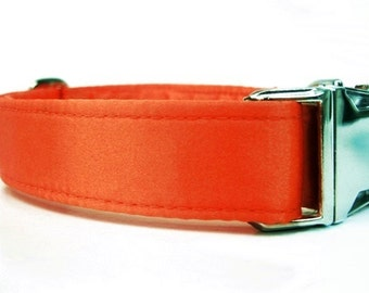 Orange Satin Wedding Dog Collar