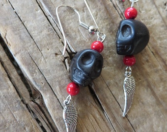 Black Howlite Turquoise Skulls with Silver Wings Charm Earrings