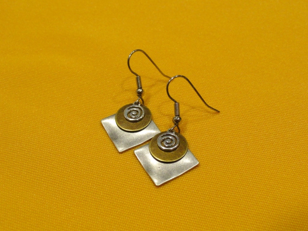 coco loco silver and gold earrings style 228g