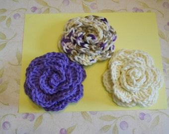 Crochet Appliques Rose Flowers Set of 3
