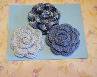 Crochet Applique Rose Flowers Set of 3