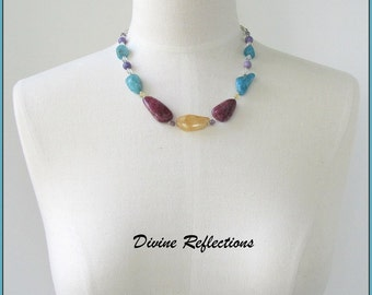 Multicolor Chunky Necklace, Chunky Gemstone Necklace, Agate and Jasper Gemstone Necklace