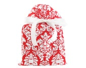 Red and White Damask Fabric Gift Bag for Christmas, Valentine's Day, Bridal Shower, or Any Occasion