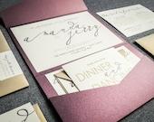 "Modern Wedding Invitations, Metallic Calligraphy Wedding Invites, Eggplant, Purple, & Gold - ""Modern Calligraphy"" Pocketfold, No Layers, v1"