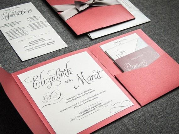 Winter Wedding Invitations, Red, Black, Silver and White, Classic Invitations, Modern Swirl and Flourish - Pocketfold, No Layers v2 - SAMPLE