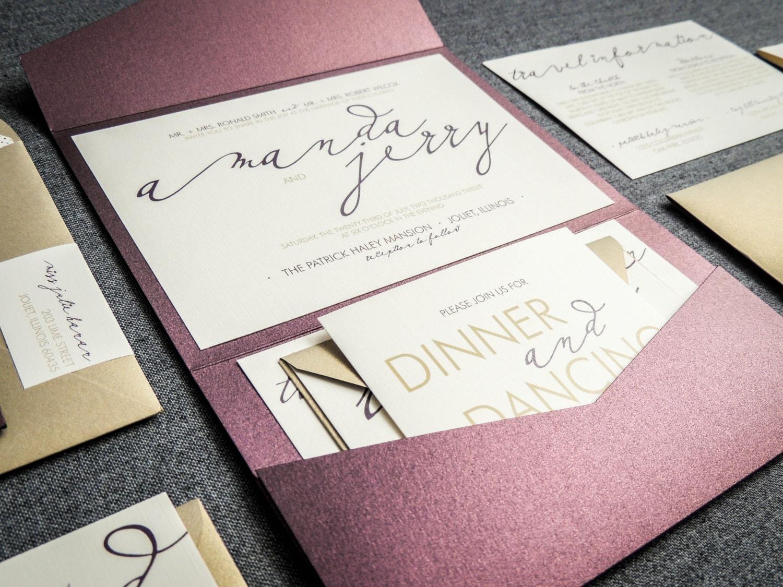 Wedding Pocketfold Invitations: Modern Wedding Invitations Metallic Wedding By