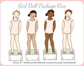 Girl Paper Doll Package ONE - Generic Dolls Only - Instant Download PDF Paperdoll Paper Doll Clip Art Printing Printable Paper Doll Mate