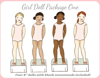 girl paper doll package one generic dolls only instant download pdf paperdoll paper doll clip art printing printable paper doll mate