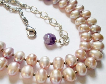 Multistrand Natural Lilac Purple Freshwater Pearl Amethyst Necklace, Handmade Jewelry