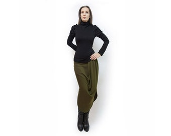 Skirt, olive skirt, green skirt, long skirt, classic skirt, medium skirt, jersey skirt, asymmetric skirt,original skirt, autumn skirt, S24