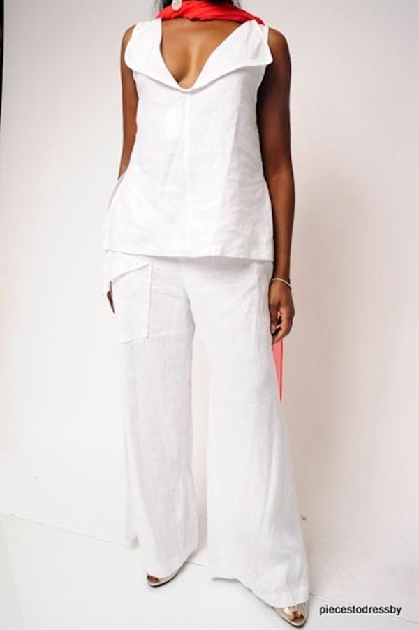 White. Linen, Sculptured Top, Uneven Hemline, Sleeveless, Bateau Neckline, Deep V Back, Slits At Side, Reversible, Summer, Travel, Party