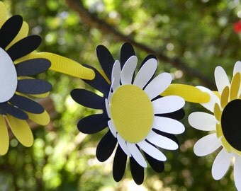 Daisy Chain Garland in Yellow Black and White for Bumble Bee Theme Birthday or Baby Shower. Handcrafted in 3-5 Business Days