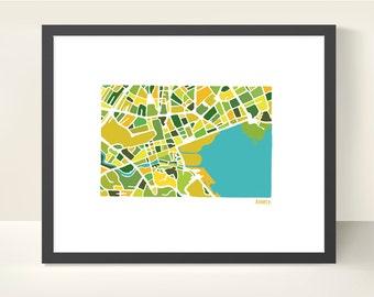 Annecy France Map - Original Illustration Print