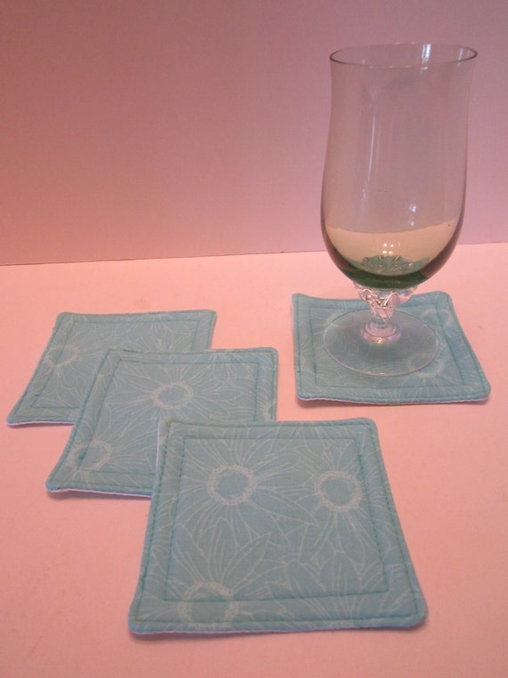 CLEARANCE - Fabric Drink Coasters Mug Rugs - Floral Print Aqua Teal Turquoise - Set of 4