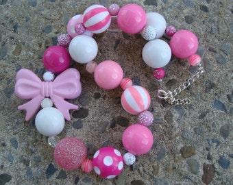 Pink Necklace Kids chunky necklace Children's Necklace, Kids Necklace, Beaded Necklace, Child Girls Necklace