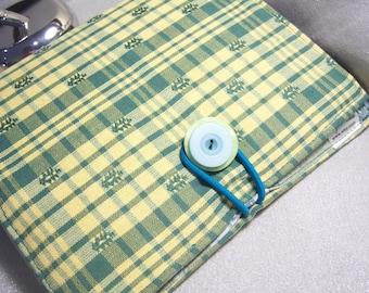 Mini Notepad Storage Coupon Keeper To Do List Portfolio Decorators Fabric Vanilla and Teal Green Check Plaid