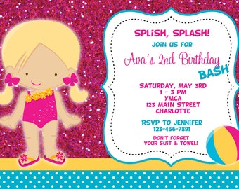 Pool party birthday invitation -- pool party - pool toys - swimming party - girl swimmer