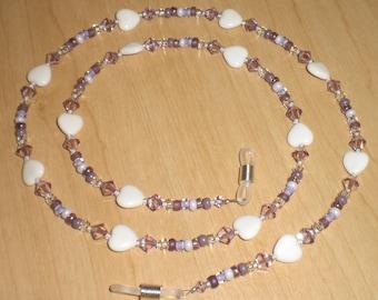 Amethyst Swarovski Crystal White Hearts Eyeglass Chain