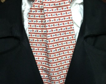 Cravat, In A Heart Stripe Floral Fabric or Ascot Mens Victorian Tie.