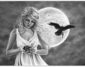 Keep it safe Moonlight Twilight Girl Woman Raven Vintage Emo Art Print Glossy Zindy Nielsen