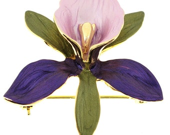 Purple Orchid Flower Brooch Pin And Pendant 1011884