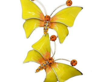Two Yellow Butterfly Couple Crystal Pin Brooch 1000731