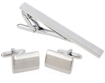 Silver Dots Cufflinks And Tie Clip Set 4100010