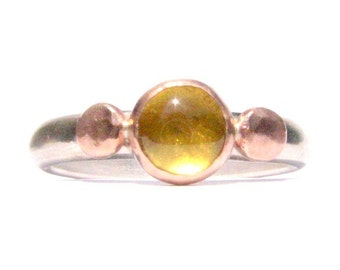 Tourmaline, Solid Rose Gold and Silver Ring - Yellow Tourmaline - Gemstone Ring - Stackable Ring - Tourmaline and rose gold - Yellow ring.