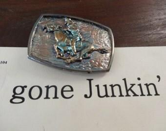 Vintage Pony Express Brass Belt Buckle