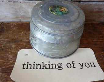 Vintage Metal Round Box Victorian Motif