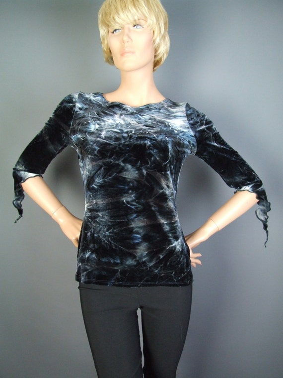 Blue Velvet Top, Gray, Grey, Tie dye, Upcycled, Stretch, Slashed, Recycled, Ladies, Pixie, Sleeve, Psy, Party, Clothing, Small/Medium - OOAK