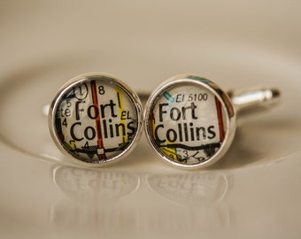 Fort Collins Colorado, Colorado Cuff Link Gift, Accessories, Sterling Silver Round Cuff Links, Colorado Map, Mens Gift, Gifts for Him