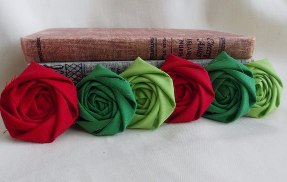 Holiday Christmas Decor Fabric Rosettes Red Flowers Emerald Green Flowers Lime Green Flowers Two-inch flowers Cotton Rolled Flowers