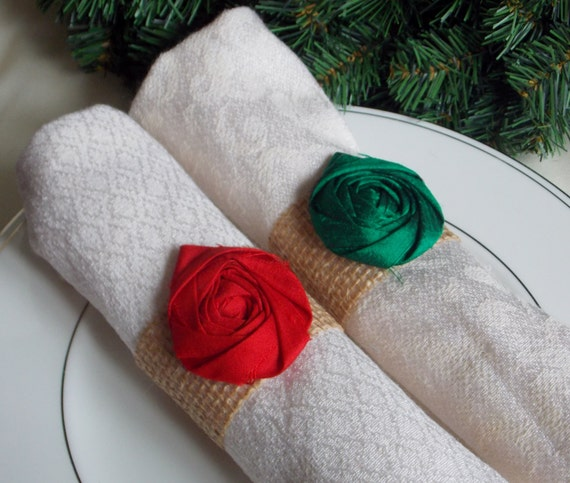 Christmas Holiday Decor Napkin Rings Burlap and Green Red Silk Flower Rustic Shabby Chic Wedding Decor Table Setting Table Decor Home Decor