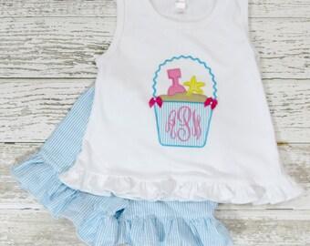 Beach Bucket Outfit, Seersucker Shorts, Applique Outfit, Toddler Girls Outfit, Beach Outfit, Sand Pail Shirt, Monogram Shirt