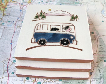 """Blue VW Bus with Girl and her Dog handmade ceramic tile, coaster or wall hanging 4"""" x 4"""""""