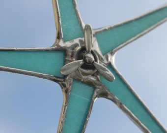 Wild Blue Yonder- Propeller Star, robin's egg blue, spinning propeller, stained glass star