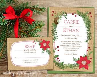 Poinsettia Wedding Invitation, Holiday or Winter Wedding Invitation and RSVP Printable