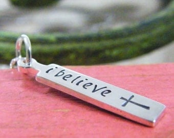 i believe sterling silver hand stamped pendant only