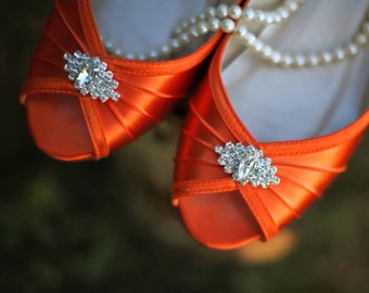 Orange Wedge Wedding Shoes - Choose From Over 100 Colors - 1 Inch Wedge Wedding Shoe With Crystal - Great For Outdoor Weddings - Wide Sizes