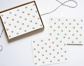 Polka Dot Blank Folded Note Card - Set of 6