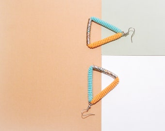 Triangle Earrings Aqua Orange, Fresh Summer Geometric Earrings, crochet tube triangle jewelry