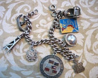 Vintage Sterling Silver Charm Bracelet w 8 Charms