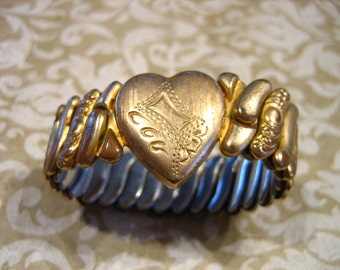 Vintage Gold Filled Hall of Providence Sweetheart Expandable Heart Bracelet