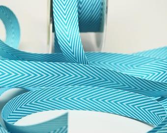 Striped Chevron Twill Ribbon -- 3/4 inch -- Caribbean Blue White