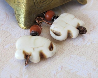 Elephant earrings white elephant jewelry elephant lover gift lucky jewelry white stone elephant gift elephants niobium earrings