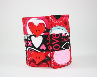 Valentine Hearts Patchwork Can Cozy Sleeve